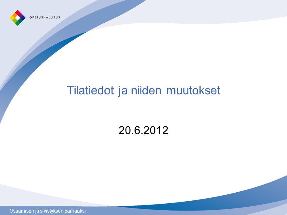 Osaamisen ja sivistyksen parhaaksi Tilatiedot ja niiden muutokset 20.6.2012