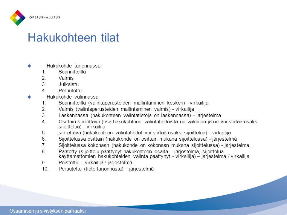 Osaamisen ja sivistyksen parhaaksi Hakukohteen tilat Hakukohde tarjonnassa: 1.Suunnitteilla 2.Valmis 3.Julkaistu 4.Peruutettu Hakukohde valinnassa: 1.Suunnitteilla (valintaperusteiden mallintaminen kesken) - virkailija 2.Valmis (valintaperusteiden mallintaminen valmis) - virkailija 3.Laskennassa (hakukohteen valintatietoja on laskennassa) - järjestelmä 4.Osittain siirrettävä (osa hakukohteen valintatiedoista on valmiina ja ne voi siirtää osaksi sijoittelua) - virkailija 5.siirrettävä (hakukohteen valintatiedot voi siirtää osaksi sijoittelua) - virkailija 6.Sijoittelussa osittain (hakukohde on osittain mukana sijoittelussa) - järjestelmä 7.Sijoittelussa kokonaan (hakukohde on kokonaan mukana sijoittelussa) - järjestelmä 8.Päätetty (sijoittelu päättynyt hakukohteen osalta – järjestelmä, sijoittelua käyttämättömien hakukohteiden valinta päättynyt - virkailija) – järjestelmä / virkailija 9.Poistettu - virkailija / järjestelmä 10.Peruutettu (tieto tarjonnasta) - järjestelmä