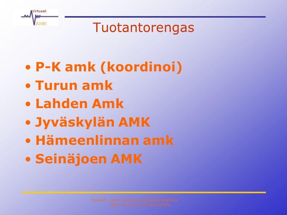 Sosiaali- ja terveysala toimintaympäristönä: http://www.ncp.fi/VerkkoSote Tuotantorengas •P-K amk (koordinoi) •Turun amk •Lahden Amk •Jyväskylän AMK •Hämeenlinnan amk •Seinäjoen AMK
