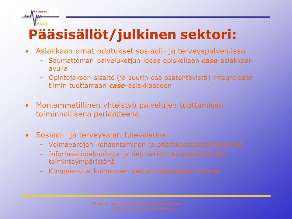 Sosiaali- ja terveysala toimintaympäristönä: http://www.ncp.fi/VerkkoSote Pääsisällöt/julkinen sektori: •Asiakkaan omat odotukset sosiaali- ja terveyspalveluissa –Saumattoman palveluketjun ideaa opiskellaan case-asiakkaan avulla –Opintojakson sisältö (ja suurin osa osatehtävistä) integroidaan tiimin tuottamaan case-asiakkaaseen •Moniammatillinen yhteistyö palvelujen tuottamisen toiminnallisena periaatteena •Sosiaali- ja terveysalan tulevaisuus –Voimavarojen kohdentaminen ja päätöksentekojärjestelmät –Informaatioteknologia ja tietoverkot terveyspalvelujen toimintaympäristönä –Kumppanuus kolmannen sektorin järjestöjen kanssa