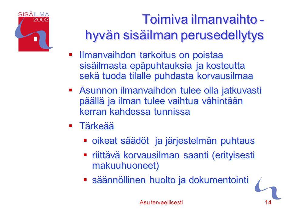 Sisäilmayhdistys ry 14 Asu terveellisesti14 Toimiva ilmanvaihto - hyvän sisäilman perusedellytys  Ilmanvaihdon tarkoitus on poistaa sisäilmasta epäpuhtauksia ja kosteutta sekä tuoda tilalle puhdasta korvausilmaa  Asunnon ilmanvaihdon tulee olla jatkuvasti päällä ja ilman tulee vaihtua vähintään kerran kahdessa tunnissa  Tärkeää  oikeat säädöt ja järjestelmän puhtaus  riittävä korvausilman saanti (erityisesti makuuhuoneet)  säännöllinen huolto ja dokumentointi  Ilmanvaihdon tarkoitus on poistaa sisäilmasta epäpuhtauksia ja kosteutta sekä tuoda tilalle puhdasta korvausilmaa  Asunnon ilmanvaihdon tulee olla jatkuvasti päällä ja ilman tulee vaihtua vähintään kerran kahdessa tunnissa  Tärkeää  oikeat säädöt ja järjestelmän puhtaus  riittävä korvausilman saanti (erityisesti makuuhuoneet)  säännöllinen huolto ja dokumentointi