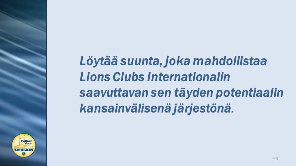 Löytää suunta, joka mahdollistaa Lions Clubs Internationalin saavuttavan sen täyden potentiaalin kansainvälisenä järjestönä.