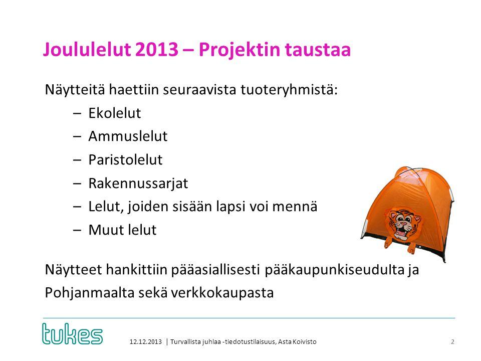 Joululelut 2013 – Projektin taustaa 12.12.2013 | Turvallista juhlaa -tiedotustilaisuus, Asta Koivisto 2 Näytteitä haettiin seuraavista tuoteryhmistä: –Ekolelut –Ammuslelut –Paristolelut –Rakennussarjat –Lelut, joiden sisään lapsi voi mennä –Muut lelut Näytteet hankittiin pääasiallisesti pääkaupunkiseudulta ja Pohjanmaalta sekä verkkokaupasta