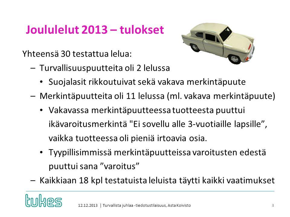 Joululelut 2013 – tulokset 12.12.2013 | Turvallista juhlaa -tiedotustilaisuus, Asta Koivisto 3 Yhteensä 30 testattua lelua: –Turvallisuuspuutteita oli 2 lelussa • Suojalasit rikkoutuivat sekä vakava merkintäpuute –Merkintäpuutteita oli 11 lelussa (ml.