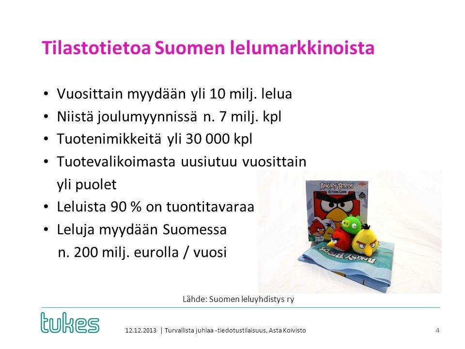 Tilastotietoa Suomen lelumarkkinoista 12.12.2013 | Turvallista juhlaa -tiedotustilaisuus, Asta Koivisto 4 • Vuosittain myydään yli 10 milj.
