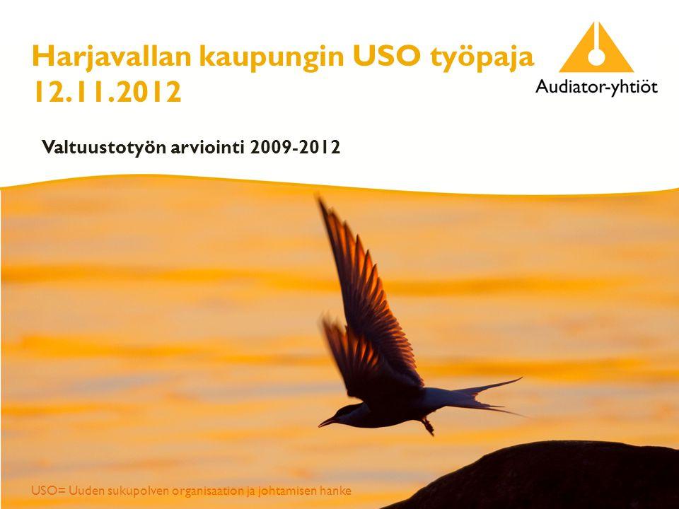Harjavallan kaupungin USO työpaja 12.11.2012 Valtuustotyön arviointi 2009-2012 USO= Uuden sukupolven organisaation ja johtamisen hanke