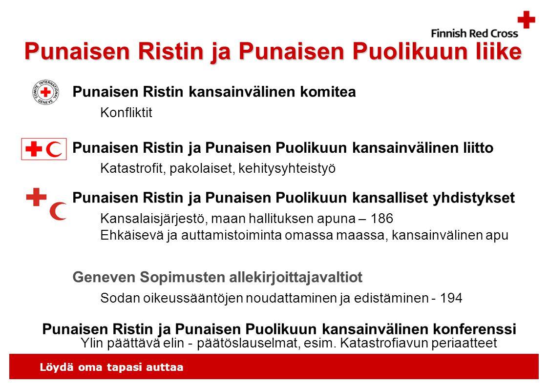 Löydä oma tapasi auttaa Punaisen Ristin ja Punaisen Puolikuun liike Punaisen Ristin kansainvälinen komitea Punaisen Ristin ja Punaisen Puolikuun kansainvälinen liitto Konfliktit Katastrofit, pakolaiset, kehitysyhteistyö Punaisen Ristin ja Punaisen Puolikuun kansalliset yhdistykset Kansalaisjärjestö, maan hallituksen apuna – 186 Ehkäisevä ja auttamistoiminta omassa maassa, kansainvälinen apu Geneven Sopimusten allekirjoittajavaltiot Sodan oikeussääntöjen noudattaminen ja edistäminen - 194 Punaisen Ristin ja Punaisen Puolikuun kansainvälinen konferenssi Ylin päättävä elin - päätöslauselmat, esim.