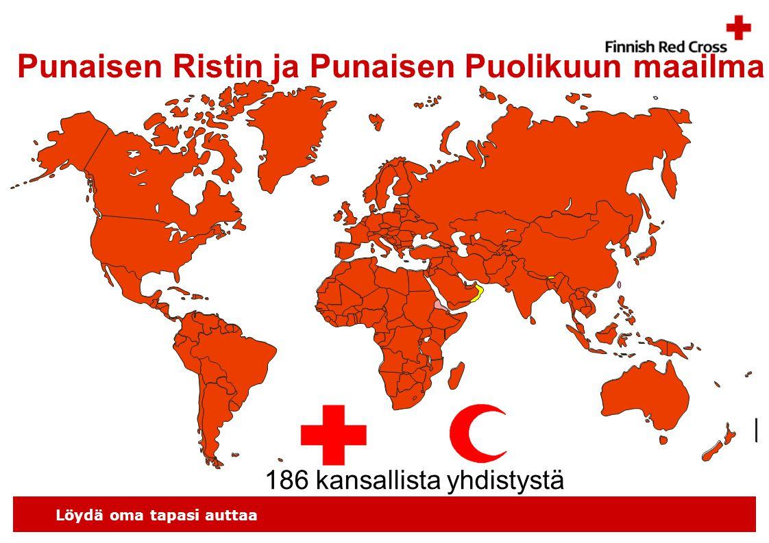 Löydä oma tapasi auttaa Punaisen Ristin ja Punaisen Puolikuun maailma 186 kansallista yhdistystä