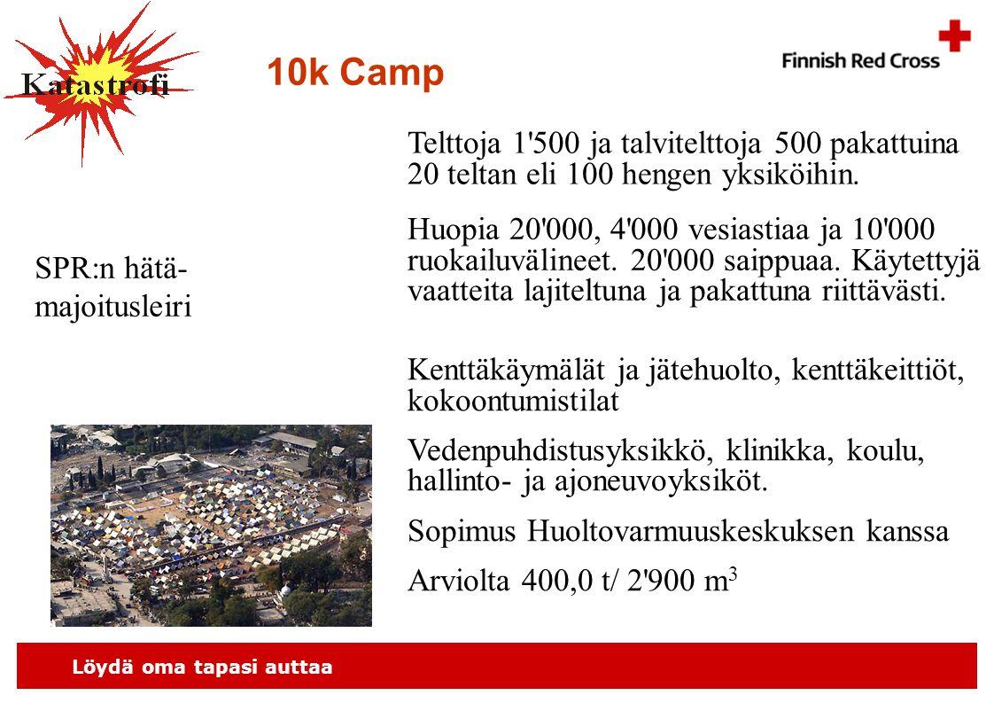 Löydä oma tapasi auttaa 10k Camp Telttoja 1 500 ja talvitelttoja 500 pakattuina 20 teltan eli 100 hengen yksiköihin.