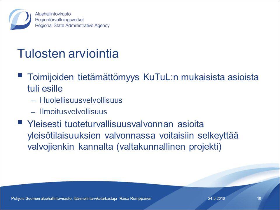 Tulosten arviointia  Toimijoiden tietämättömyys KuTuL:n mukaisista asioista tuli esille –Huolellisuusvelvollisuus –Ilmoitusvelvollisuus  Yleisesti tuoteturvallisuusvalvonnan asioita yleisötilaisuuksien valvonnassa voitaisiin selkeyttää valvojienkin kannalta (valtakunnallinen projekti) 24.5.2010Pohjois-Suomen aluehallintovirasto, lääninelintarviketarkastaja Raisa Romppanen10