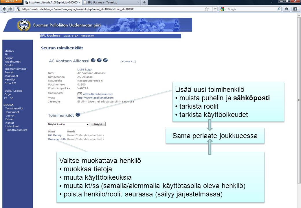 Valitse muokattava henkilö • muokkaa tietoja • muuta käyttöoikeuksia • muuta kt/ss (samalla/alemmalla käyttötasolla oleva henkilö) • poista henkilö/roolit seurassa (säilyy järjestelmässä) Valitse muokattava henkilö • muokkaa tietoja • muuta käyttöoikeuksia • muuta kt/ss (samalla/alemmalla käyttötasolla oleva henkilö) • poista henkilö/roolit seurassa (säilyy järjestelmässä) Lisää uusi toimihenkilö • muista puhelin ja sähköposti • tarkista roolit • tarkista käyttöoikeudet Lisää uusi toimihenkilö • muista puhelin ja sähköposti • tarkista roolit • tarkista käyttöoikeudet Sama periaate joukkueessa