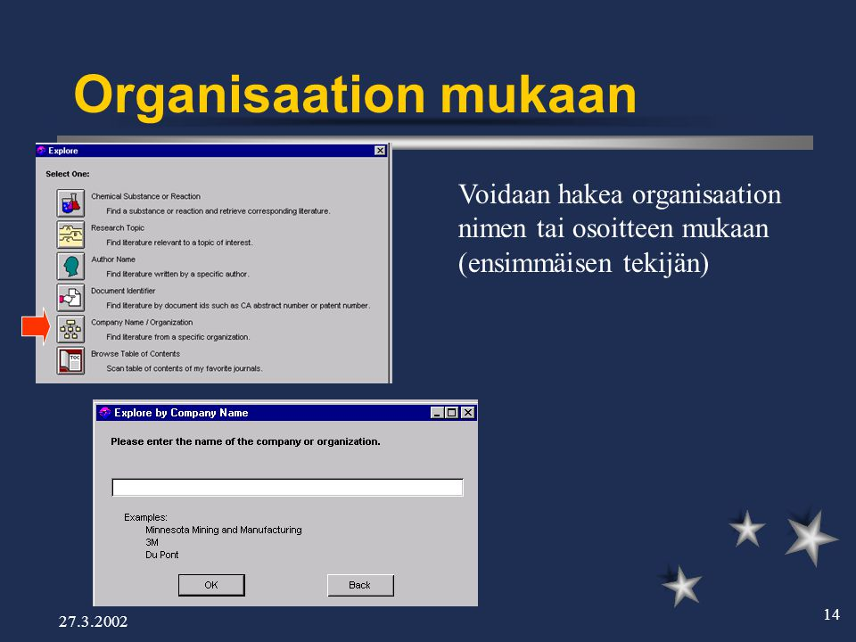 27.3.2002 14 Organisaation mukaan Voidaan hakea organisaation nimen tai osoitteen mukaan (ensimmäisen tekijän)