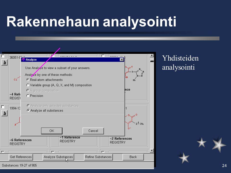 27.3.2002 24 Rakennehaun analysointi Yhdisteiden analysointi