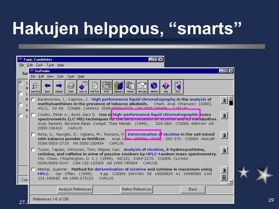 27.3.2002 29 Hakujen helppous, smarts