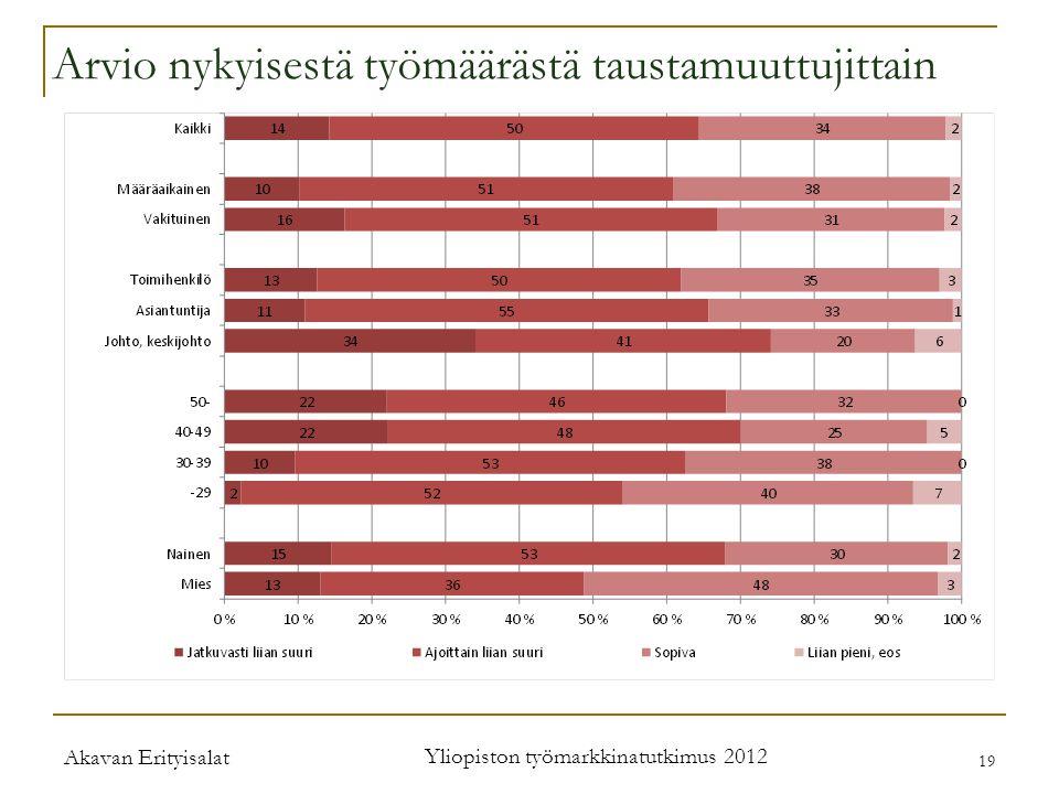 Akavan Erityisalat Yliopiston työmarkkinatutkimus 2012 19 Arvio nykyisestä työmäärästä taustamuuttujittain