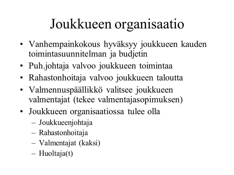 Joukkueen organisaatio •Vanhempainkokous hyväksyy joukkueen kauden toimintasuunnitelman ja budjetin •Puh.johtaja valvoo joukkueen toimintaa •Rahastonhoitaja valvoo joukkueen taloutta •Valmennuspäällikkö valitsee joukkueen valmentajat (tekee valmentajasopimuksen) •Joukkueen organisaatiossa tulee olla –Joukkueenjohtaja –Rahastonhoitaja –Valmentajat (kaksi) –Huoltaja(t)