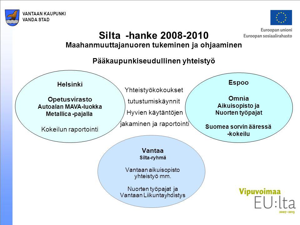 VANTAAN KAUPUNKI VANDA STAD Silta -hanke 2008-2010 Maahanmuuttajanuoren tukeminen ja ohjaaminen Pääkaupunkiseudullinen yhteistyö Vantaa Silta-ryhmä Vantaan aikuisopisto yhteistyö mm.