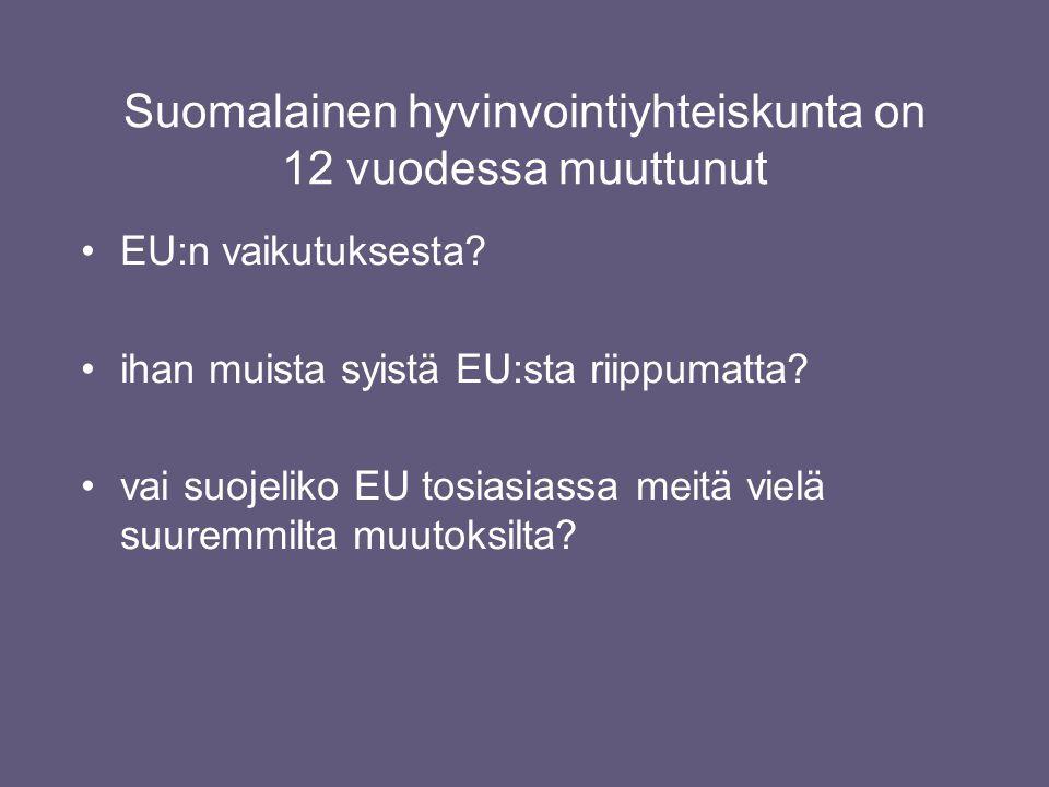 Suomalainen hyvinvointiyhteiskunta on 12 vuodessa muuttunut •EU:n vaikutuksesta.