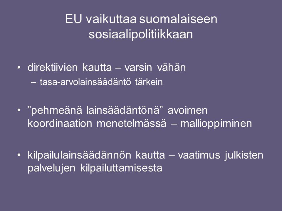 EU vaikuttaa suomalaiseen sosiaalipolitiikkaan •direktiivien kautta – varsin vähän –tasa-arvolainsäädäntö tärkein • pehmeänä lainsäädäntönä avoimen koordinaation menetelmässä – mallioppiminen •kilpailulainsäädännön kautta – vaatimus julkisten palvelujen kilpailuttamisesta