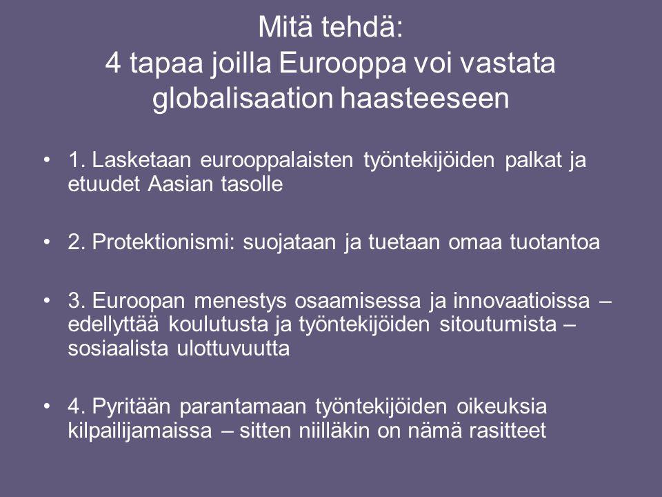 Mitä tehdä: 4 tapaa joilla Eurooppa voi vastata globalisaation haasteeseen •1.
