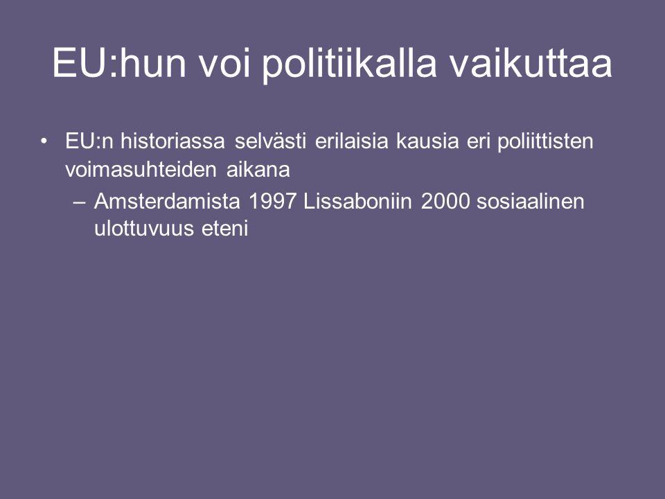 EU:hun voi politiikalla vaikuttaa •EU:n historiassa selvästi erilaisia kausia eri poliittisten voimasuhteiden aikana –Amsterdamista 1997 Lissaboniin 2000 sosiaalinen ulottuvuus eteni