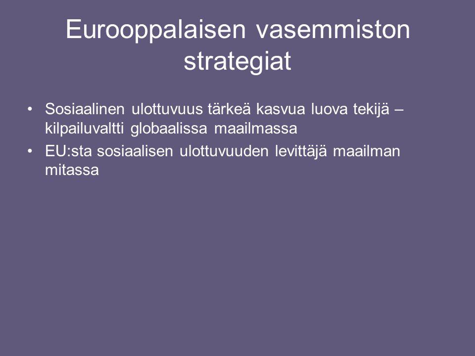 Eurooppalaisen vasemmiston strategiat •Sosiaalinen ulottuvuus tärkeä kasvua luova tekijä – kilpailuvaltti globaalissa maailmassa •EU:sta sosiaalisen ulottuvuuden levittäjä maailman mitassa