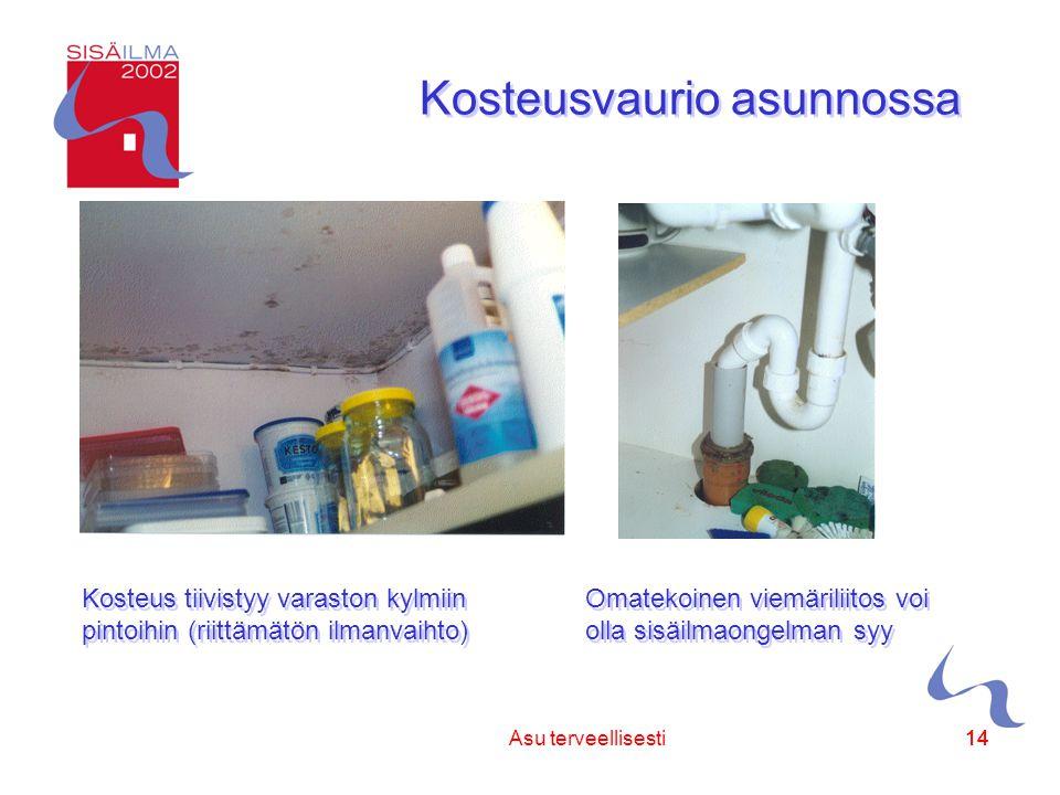 Sisäilmayhdistys ry 14 Asu terveellisesti14 Kosteusvaurio asunnossa Kosteus tiivistyy varaston kylmiin pintoihin (riittämätön ilmanvaihto) Omatekoinen viemäriliitos voi olla sisäilmaongelman syy