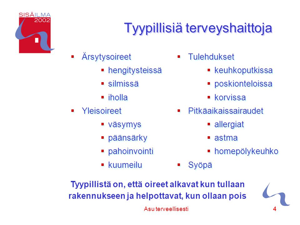 Sisäilmayhdistys ry 44Asu terveellisesti4 Tyypillistä on, että oireet alkavat kun tullaan rakennukseen ja helpottavat, kun ollaan pois Tyypillisiä terveyshaittoja  Ärsytysoireet  hengitysteissä  silmissä  iholla  Yleisoireet  väsymys  päänsärky  pahoinvointi  kuumeilu  Ärsytysoireet  hengitysteissä  silmissä  iholla  Yleisoireet  väsymys  päänsärky  pahoinvointi  kuumeilu  Tulehdukset  keuhkoputkissa  poskionteloissa  korvissa  Pitkäaikaissairaudet  allergiat  astma  homepölykeuhko  Syöpä