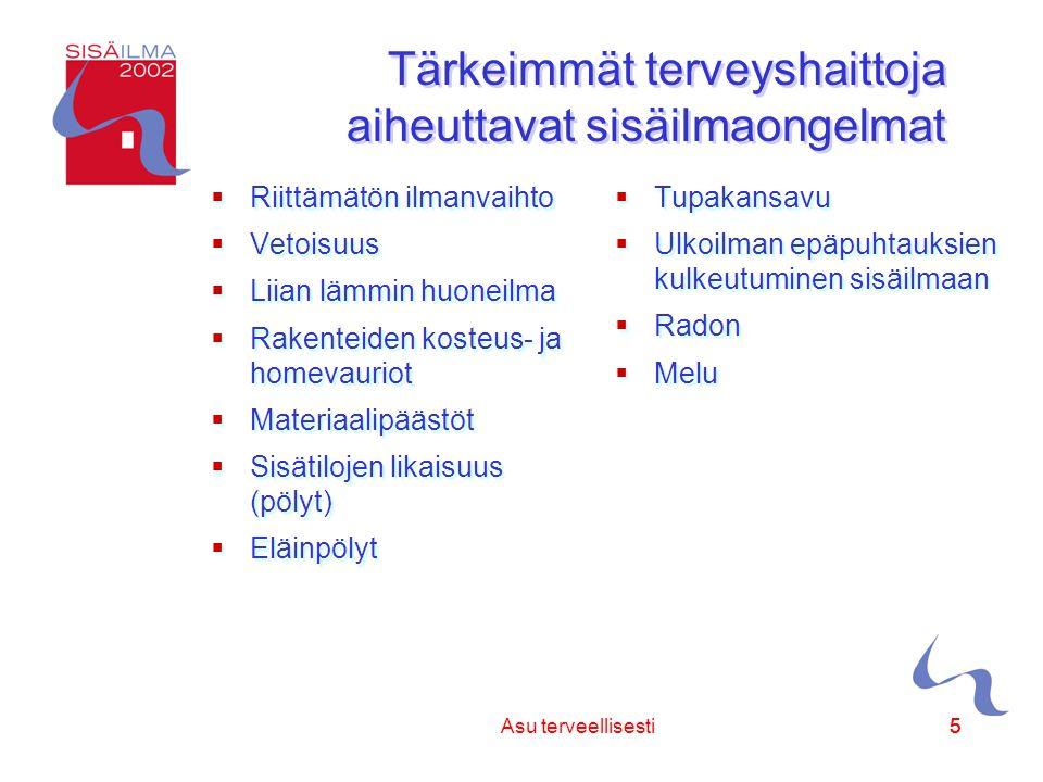 Sisäilmayhdistys ry 55Asu terveellisesti5 Tärkeimmät terveyshaittoja aiheuttavat sisäilmaongelmat  Riittämätön ilmanvaihto  Vetoisuus  Liian lämmin huoneilma  Rakenteiden kosteus- ja homevauriot  Materiaalipäästöt  Sisätilojen likaisuus (pölyt)  Eläinpölyt  Riittämätön ilmanvaihto  Vetoisuus  Liian lämmin huoneilma  Rakenteiden kosteus- ja homevauriot  Materiaalipäästöt  Sisätilojen likaisuus (pölyt)  Eläinpölyt  Tupakansavu  Ulkoilman epäpuhtauksien kulkeutuminen sisäilmaan  Radon  Melu