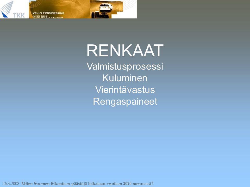 26.3.2008 Miten Suomen liikenteen päästöjä leikataan vuoteen 2020 mennessä.