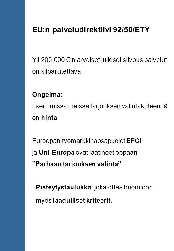 EU:n palveludirektiivi 92/50/ETY Yli 200.000 €:n arvoiset julkiset siivous palvelut on kilpailutettava Ongelma: useimmissa maissa tarjouksen valintakriteerinä on hinta Euroopan työmarkkinaosapuolet EFCI ja Uni-Europa ovat laatineet oppaan Parhaan tarjouksen valinta - Pisteytystaulukko, joka ottaa huomioon myös laadulliset kriteerit.