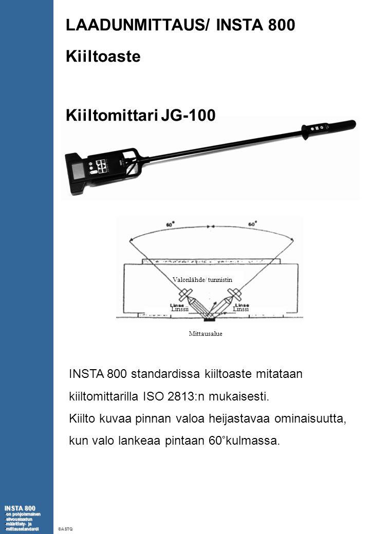LAADUNMITTAUS/ INSTA 800 Kiiltoaste Kiiltomittari JG-100 INSTA 800 •on pohjoismainen •siivouslaadun •määrittely- ja •mittausstandardi ©ASTQ Mittausalue LinssiLinssii Valonlähde/ tunnistin INSTA 800 standardissa kiiltoaste mitataan kiiltomittarilla ISO 2813:n mukaisesti.