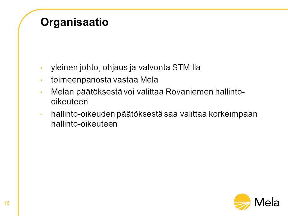 Organisaatio • yleinen johto, ohjaus ja valvonta STM:llä • toimeenpanosta vastaa Mela • Melan päätöksestä voi valittaa Rovaniemen hallinto- oikeuteen • hallinto-oikeuden päätöksestä saa valittaa korkeimpaan hallinto-oikeuteen 15