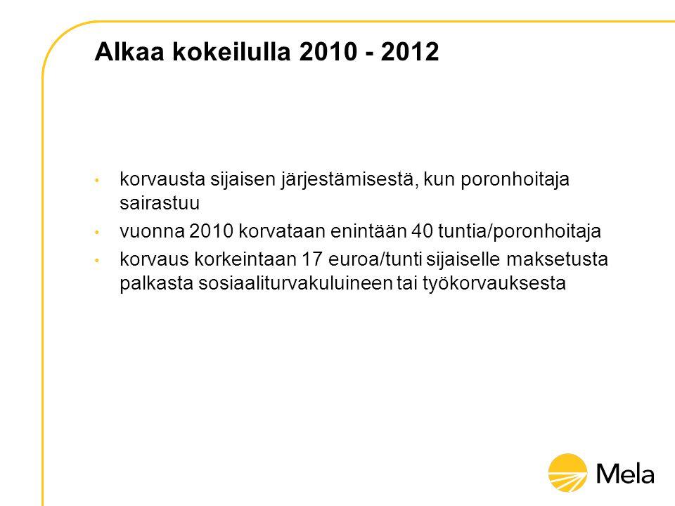 Alkaa kokeilulla 2010 - 2012 • korvausta sijaisen järjestämisestä, kun poronhoitaja sairastuu • vuonna 2010 korvataan enintään 40 tuntia/poronhoitaja • korvaus korkeintaan 17 euroa/tunti sijaiselle maksetusta palkasta sosiaaliturvakuluineen tai työkorvauksesta