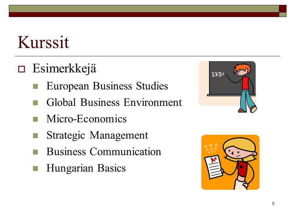 8 Kurssit  Esimerkkejä  European Business Studies  Global Business Environment  Micro-Economics  Strategic Management  Business Communication  Hungarian Basics