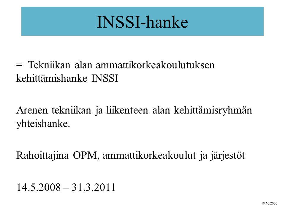 INSSI-hanke = Tekniikan alan ammattikorkeakoulutuksen kehittämishanke INSSI Arenen tekniikan ja liikenteen alan kehittämisryhmän yhteishanke.