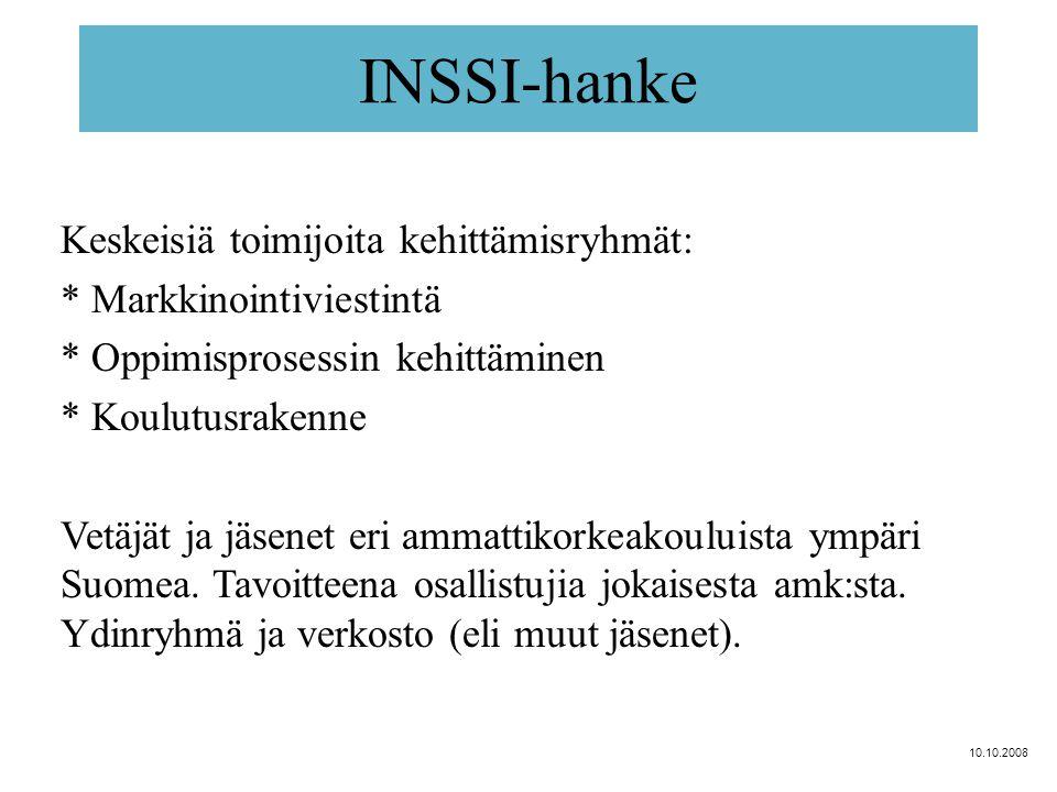INSSI-hanke Keskeisiä toimijoita kehittämisryhmät: * Markkinointiviestintä * Oppimisprosessin kehittäminen * Koulutusrakenne Vetäjät ja jäsenet eri ammattikorkeakouluista ympäri Suomea.