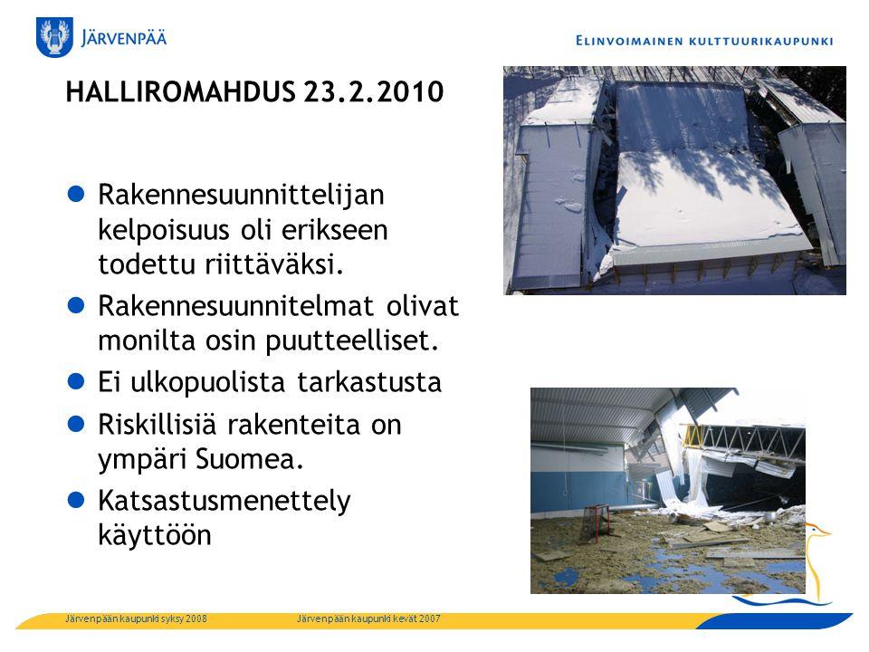 HALLIROMAHDUS 23.2.2010  Rakennesuunnittelijan kelpoisuus oli erikseen todettu riittäväksi.
