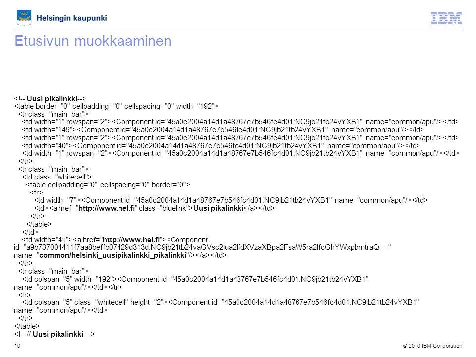© 2010 IBM Corporation10 Etusivun muokkaaminen Uusi pikalinkki