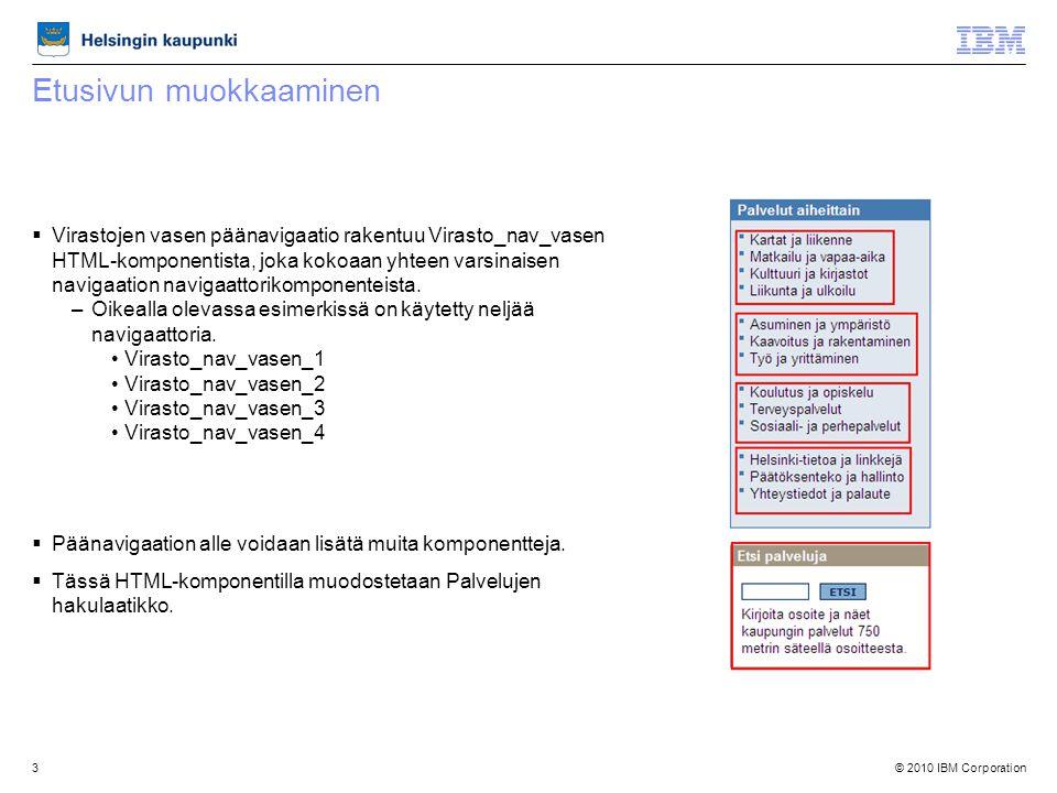 © 2010 IBM Corporation3 Etusivun muokkaaminen  Virastojen vasen päänavigaatio rakentuu Virasto_nav_vasen HTML-komponentista, joka kokoaan yhteen varsinaisen navigaation navigaattorikomponenteista.