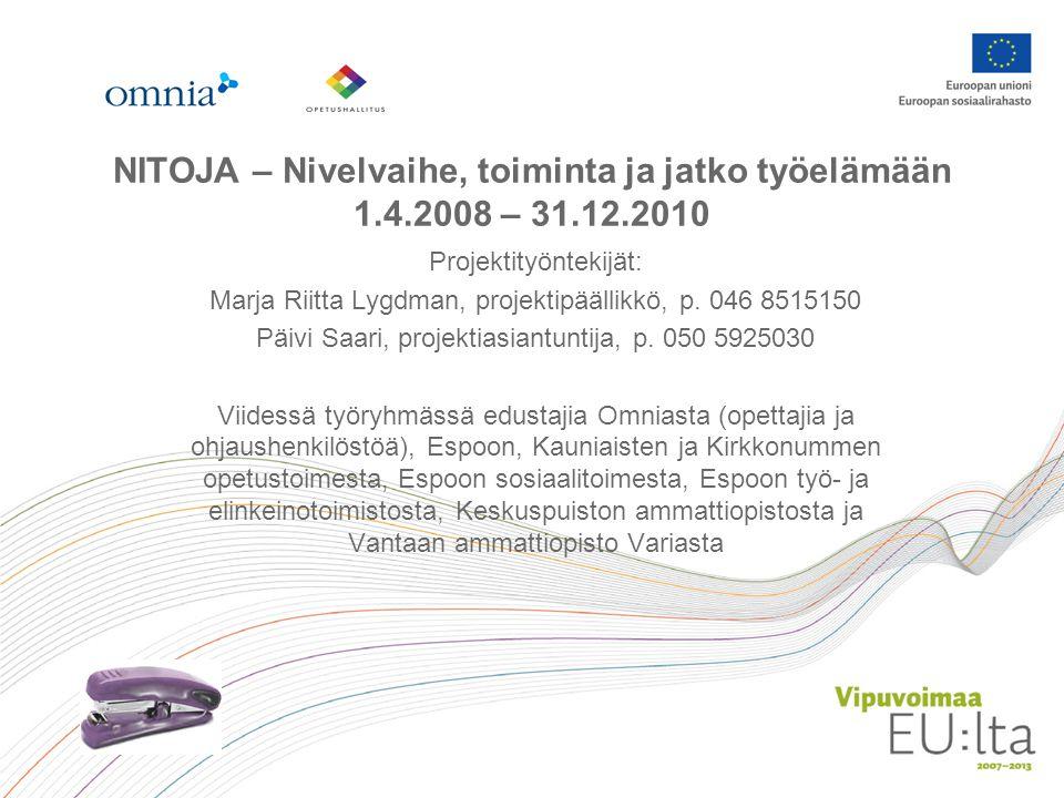 NITOJA – Nivelvaihe, toiminta ja jatko työelämään 1.4.2008 – 31.12.2010 Projektityöntekijät: Marja Riitta Lygdman, projektipäällikkö, p.