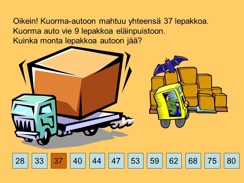 375359626875802844474033 Oikein. Kuorma-autoon mahtuu yhteensä 37 lepakkoa.