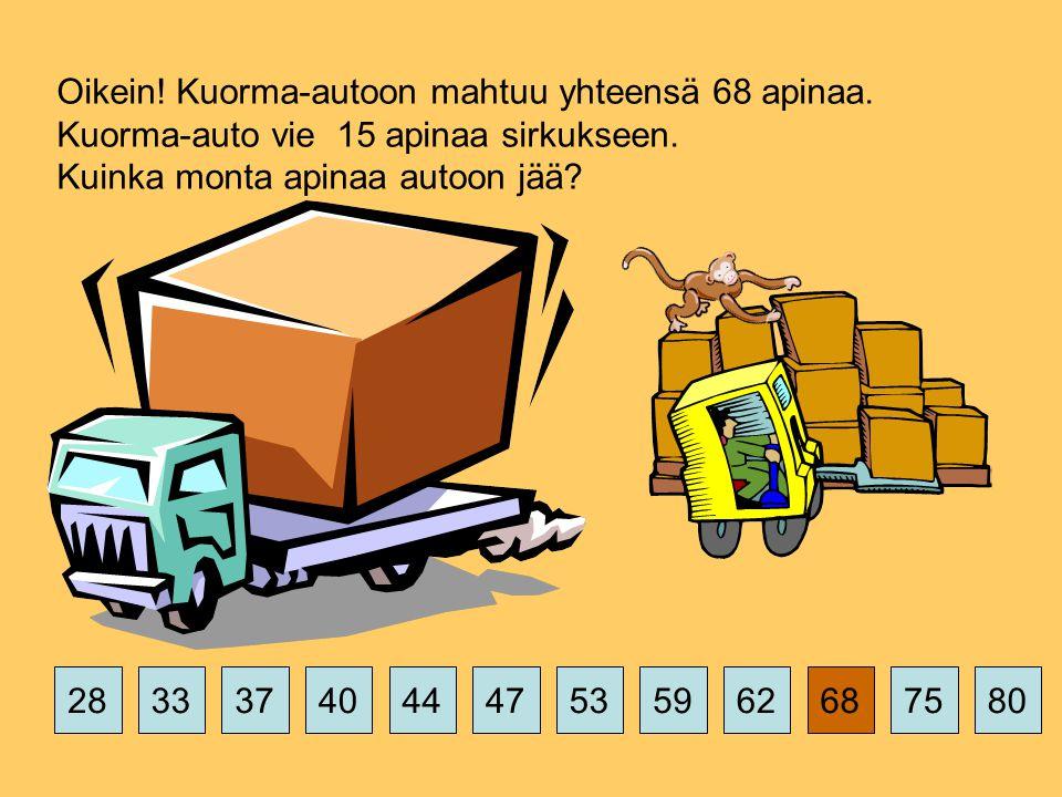 375359626875802844474033 Oikein. Kuorma-autoon mahtuu yhteensä 68 apinaa.