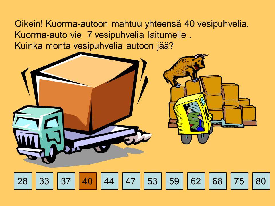 375359626875802844474033 Oikein. Kuorma-autoon mahtuu yhteensä 40 vesipuhvelia.