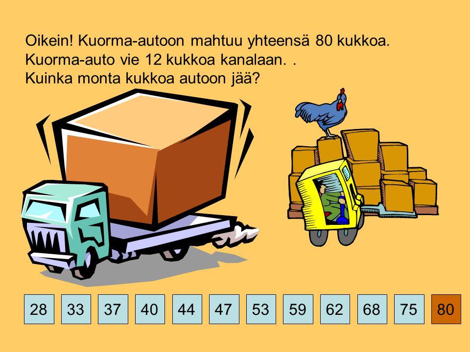 375359626875802844474033 Oikein. Kuorma-autoon mahtuu yhteensä 80 kukkoa.