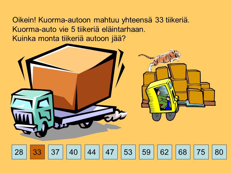 375359626875802844474033 Oikein. Kuorma-autoon mahtuu yhteensä 33 tiikeriä.