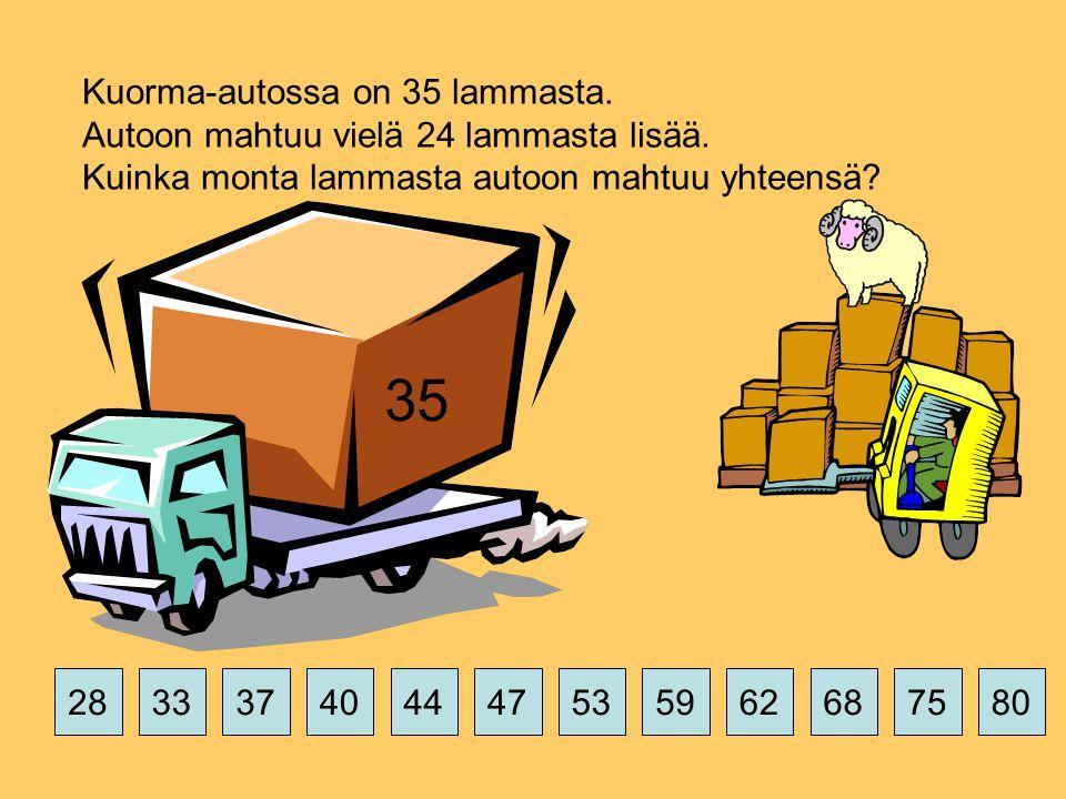 Kuorma-autossa on 35 lammasta. Autoon mahtuu vielä 24 lammasta lisää.