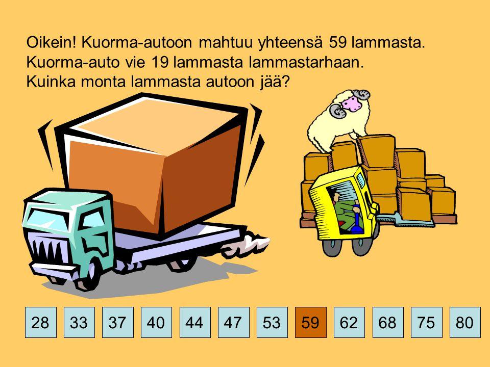 375359626875802844474033 Oikein. Kuorma-autoon mahtuu yhteensä 59 lammasta.