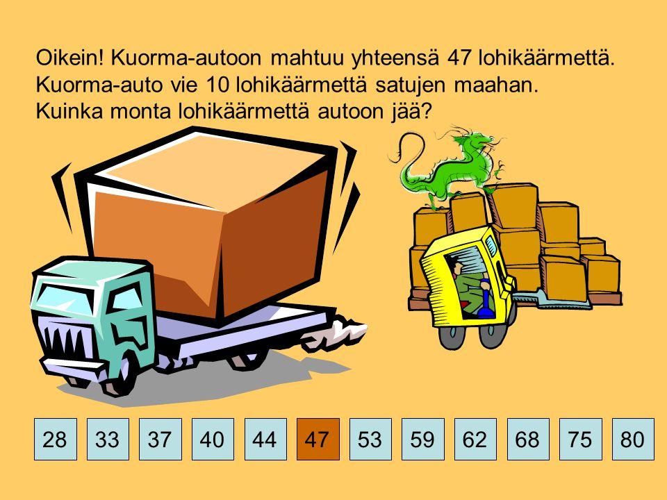 375359626875802844474033 Oikein. Kuorma-autoon mahtuu yhteensä 47 lohikäärmettä.