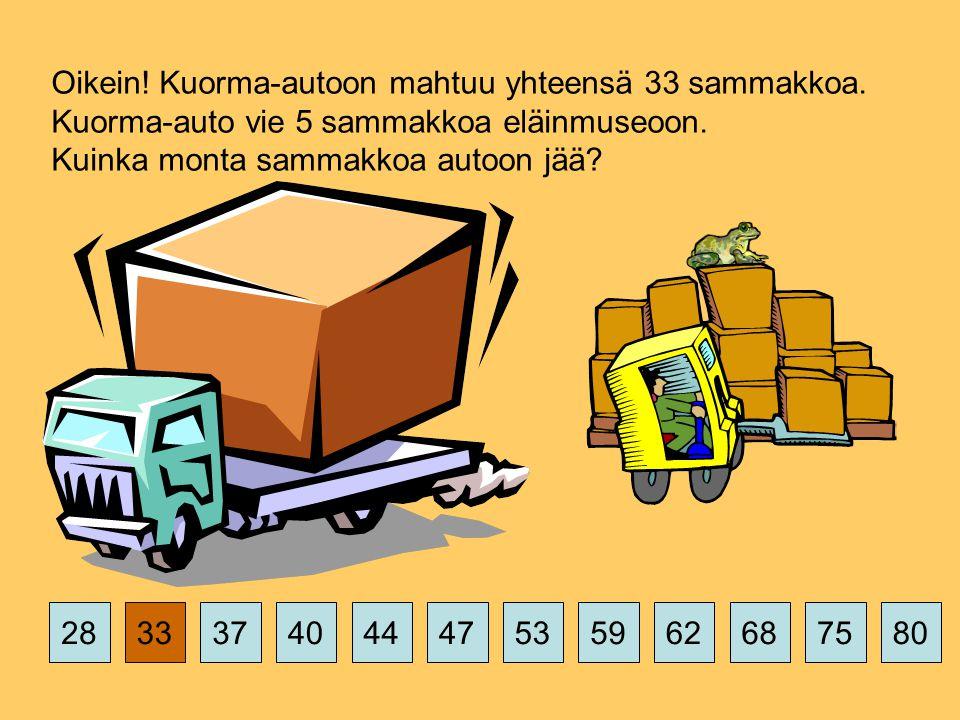 375359626875802844474033 Oikein. Kuorma-autoon mahtuu yhteensä 33 sammakkoa.